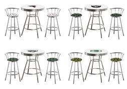 NFL Team Logo 3PC White Chrome Bar Table Set Swivel Backrest