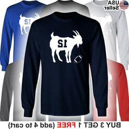 GOAT Long T-Shirt Tom Brady 12 New England Patriots Greatest