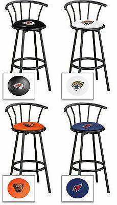"""NFL Bar Stool 24"""" Tall Black Metal w/Backrest Swivel Seat wi"""