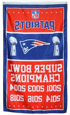 New England Patriots 6 time Super Bowl Champions Flag Deluxe