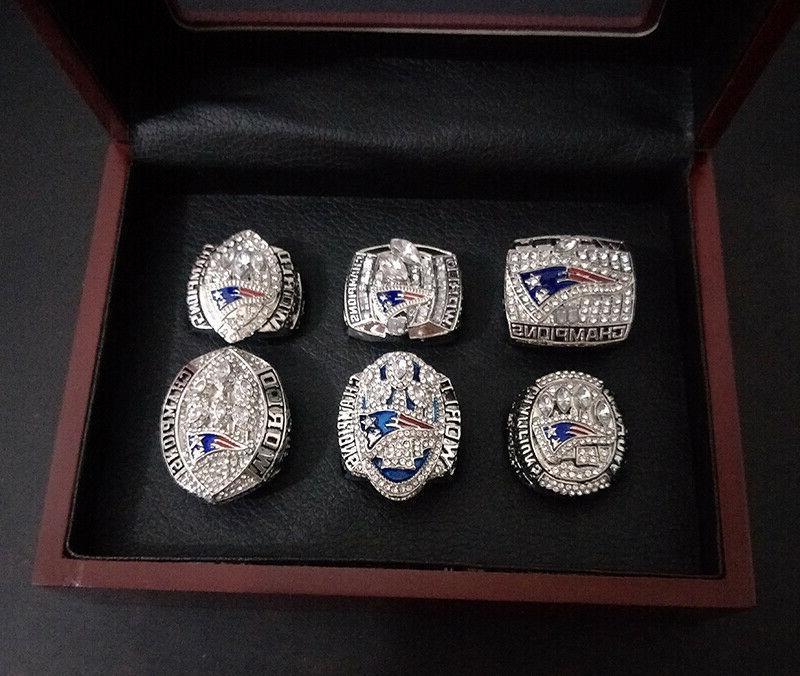 Set 6Pcs England Patriots Bowl Fan Rings Box