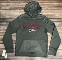 Mens New England Patriots Storm Gray Hoodie Pull Over Sweate