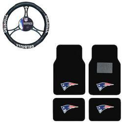 New 5pc NFL New England Patriots Car Truck Floor Mats & Stee