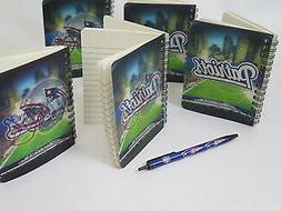 New England Patriots 5 Compact Journal Notebooks and 1 pen