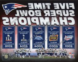 New England Patriots 5 Time Super Bowl Champions Banners 8x1