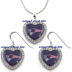 New England Patriots 925 Necklace / Earrings or Set Team Hea