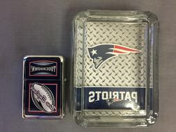 NEW ENGLAND PATRIOTS ASHTRAY AND LIGHTER GIFT SET FOOTBALL