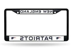 New England Patriots BLACK FRAME Chrome Metal License Plate