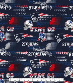 """NEW ENGLAND PATRIOTS COTTON FABRIC FQ 18""""x28"""" -Perfect for D"""