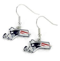 New England Patriots Football NFL State Design Charm Silver