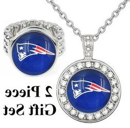 New England Patriots Gift Set Womens 925 Sterling Silver Nec