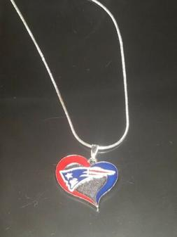 New England Patriots Heart Pendant Necklace Sterling Silver