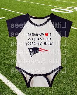 New England Patriots Jersey Baby Shirt Bodysuit Love Watchin