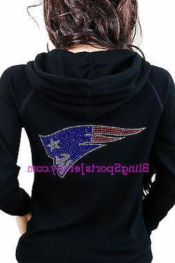 New England Patriots Jersey Bling Rhinestone Zipper Hoodie S