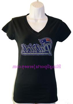 New England Patriots Jersey Rhinestone Bling T-shirt V-neck