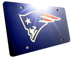 New England Patriots Laser Tag License Plate Blue Premium Mi