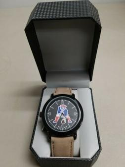 New England Patriots Game Time Mens Quartz Metal and Leather