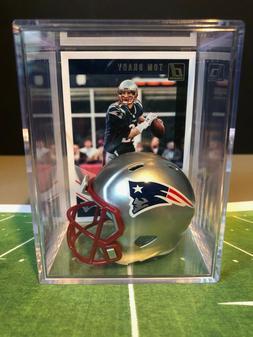 New England Patriots Mini Pocket Helmet Shadowbox w/ Tom Bra