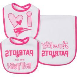 New England Patriots NFL Infant Bibs & Burp Cloth Pink 3-Pie