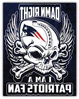 New England Patriots NFL Skull Fan Car Bumper Sticker Decal