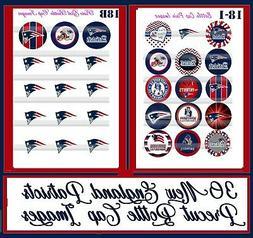 New England Patriots NFL Team & Logo Sheets 30 Precut Bottle