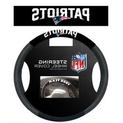 NEW ENGLAND PATRIOTS POLY-SUEDE AND MESH STEERING WHEEL COVE