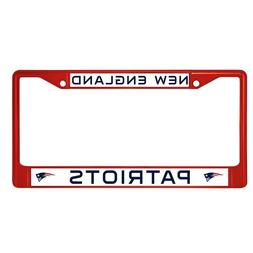 New England Patriots Red Colored Chrome Metal License Plate