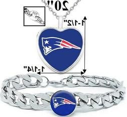New England Patriots Set Mens Womens Sterling Necklace Stain