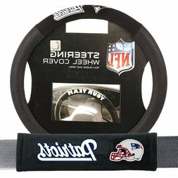 New England Patriots Steering Wheel Cover Poly Mesh Suede &