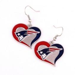 New England Patriots swirl heart earrings dangle charm FAST