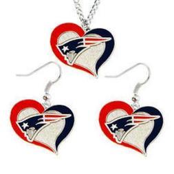 New England PATRIOTS Swirl Heart Necklace & Earrings Dangle