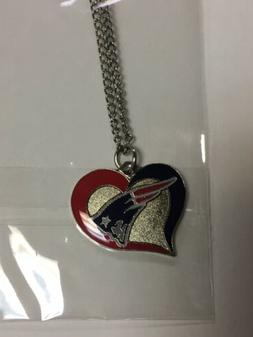 New England Patriots Swirl Heart NFL Silver Team Pendant Nec