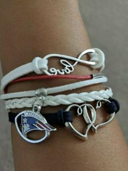 New England Patriots Women's Bracelet Love Charm Ladies