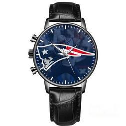 New England Patriots Wrist Watch Black Leather Band Quartz B