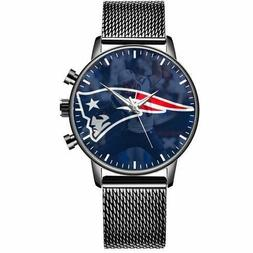 New England Patriots Wrist Watch Custom Logo Black Stainless