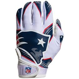 NFL New England Patriots Youth Receiver Gloves,White,Medium
