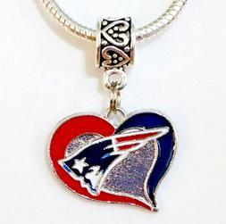 NFL New England Patriots Heart Pendant/Charm for Bracelet, N