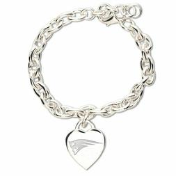 NFL New England Patriots Jewelry Silver Heart Charm Bracelet
