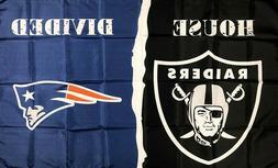 Oakland Raiders vs New England Patriots NFL House Divided Fl