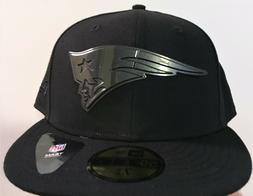 Rare New England Patriots Era 59Fifty SLEEKED Black METAL Fi