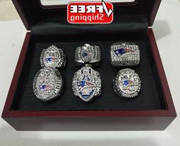 Set 6Pcs Rings New England Patriots Championship Super Bowl