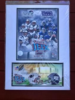 Super Bowl 42 NY Giants New England Patriots USPS matted Art