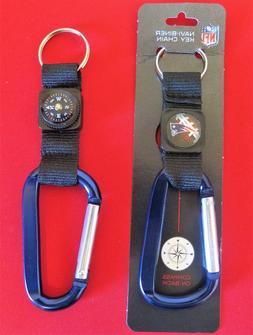 TWO  BEAUTIFUL, NEW ENGLAND PATRIOTS CARABINER COMPASS KEYCH